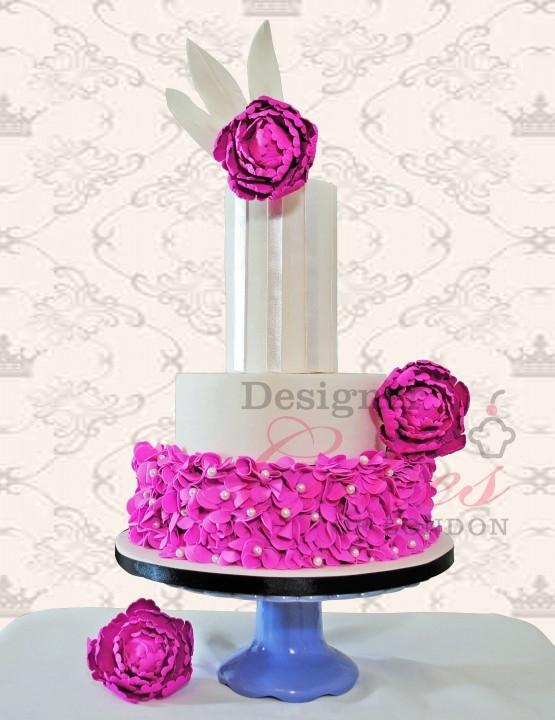 Fushia wedding cake