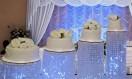 Rama – Crystal chandelier waterfall Asian wedding cake – stand hire