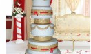AAbha – Gold and Red Asian Wedding Cake with ribbon insert