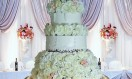Sylvia – Chandelier Crystal Waterfall cake stand. Asian Wedding Cake. Luxury Wedding Cakes London