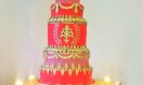 Ruby – Chandelier Crystal Waterfall  cake  stand. Asian Wedding Cake. Luxury Wedding Cakes London